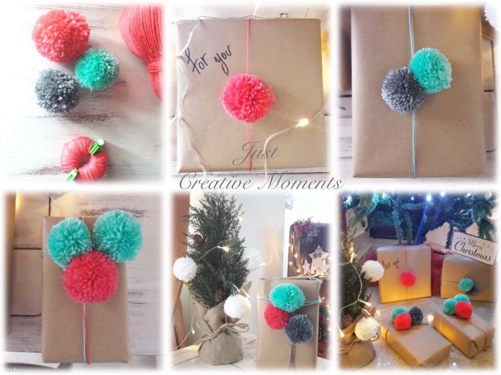 Cute Christmas Wrapping with Pom Pom!!!!  2900d5cb7b1