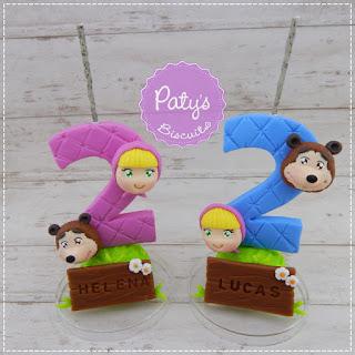 Vela decorada com nome Masha e o Urso para menina - Topo de bolo para festa Infantil - biscuit