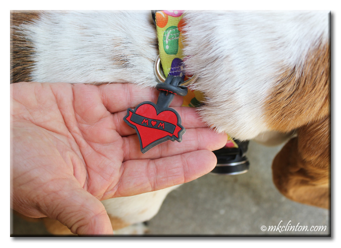Twigo red heart Pet ID Tag with Mom written on front.
