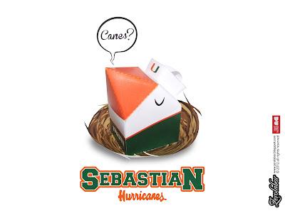 Sebastian Miami Hurricanes Mascot paper toy