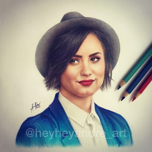 11-Demi-Lovato-André-Manguba-Celebrities-Drawn-and-Colored-in-with-Pencils-www-designstack-co