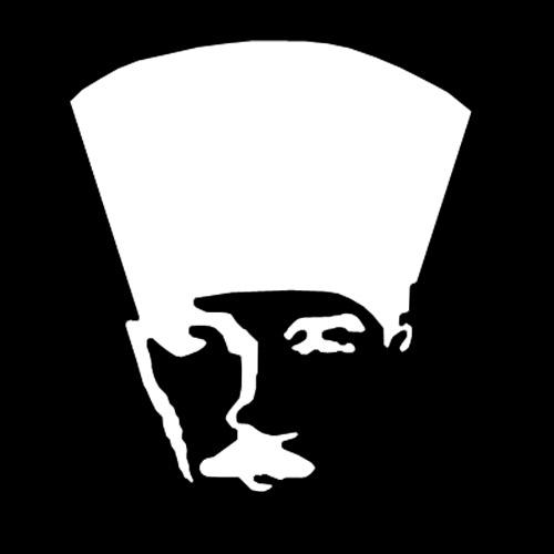 Siyah bir arkaplan üzerinde Kalpaklı bir Atatürk silueti