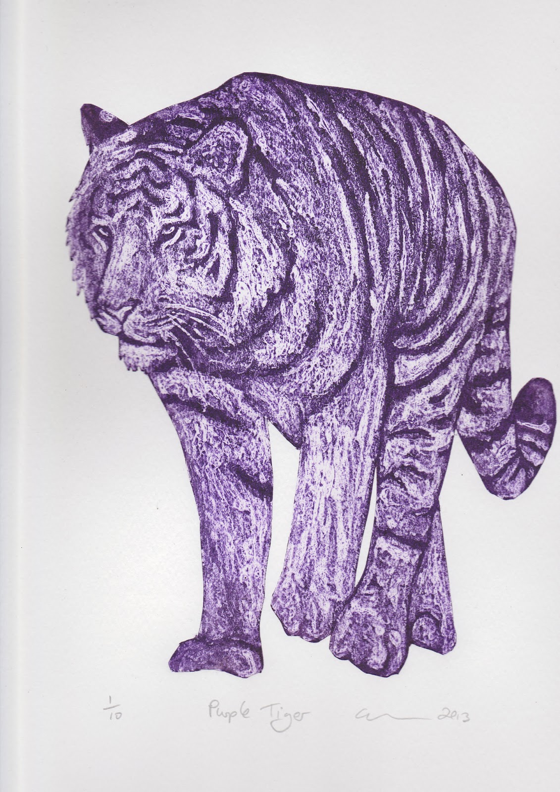 Purple Tiger Stargazer Nail Art Designs By Top Nails: Clare Sherwen Printmaker/Painter: Purple Animals