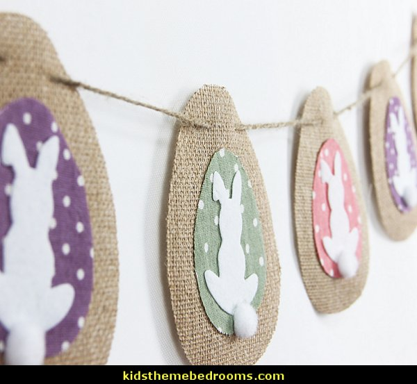 Burlap Egg Shaped Easter Bunny Tails Banner Rabbit Bunting Garland Easter Spring Baby Shower