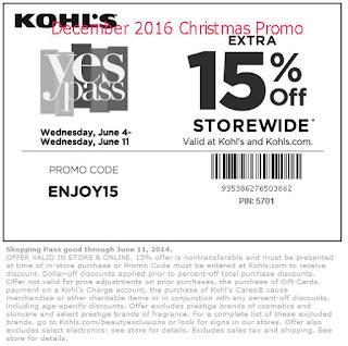 Kohls coupons for december 2016