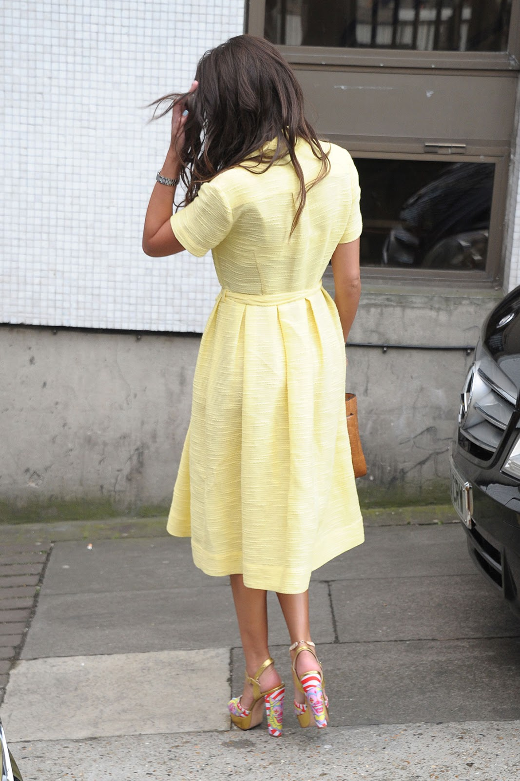 HQ Photos of Michelle Keegan in Yellow glowing dress Arrives At ITV Studios In London