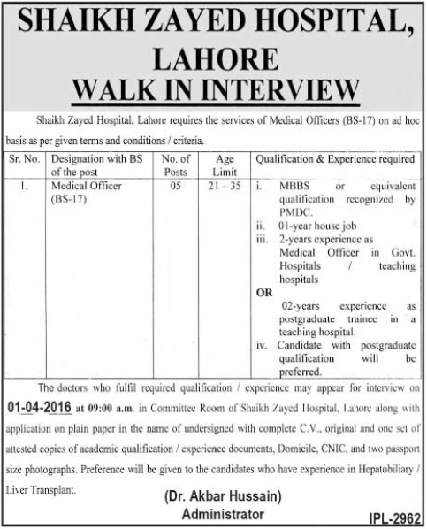 Medical Officers Jobs in Shaikh Zayed Hospital Lahore