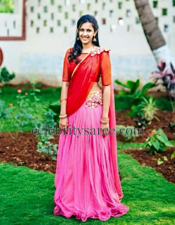 Niharika Pink and Red Half Saree