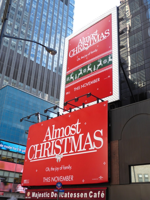 Almost Christmas movie billboards NYC
