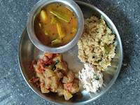 Foxtail millet (Thinai) Ven pongal,  Drumstick Potato Sambar,  Ashgourd masala,  Coconut chutney
