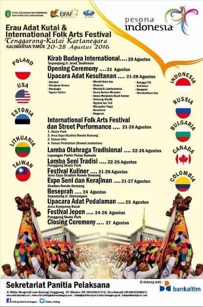 festival Erau Adat Kutai dan International Folk Art Festival di Tenggarong 2016