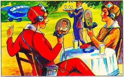 Мечты о Будущем 20 век Чудеса представляемые под Новый год о будущем сбываются. В 1930 году представляли то, что позже назовут мобильными телефонами и планшетами со скайпом