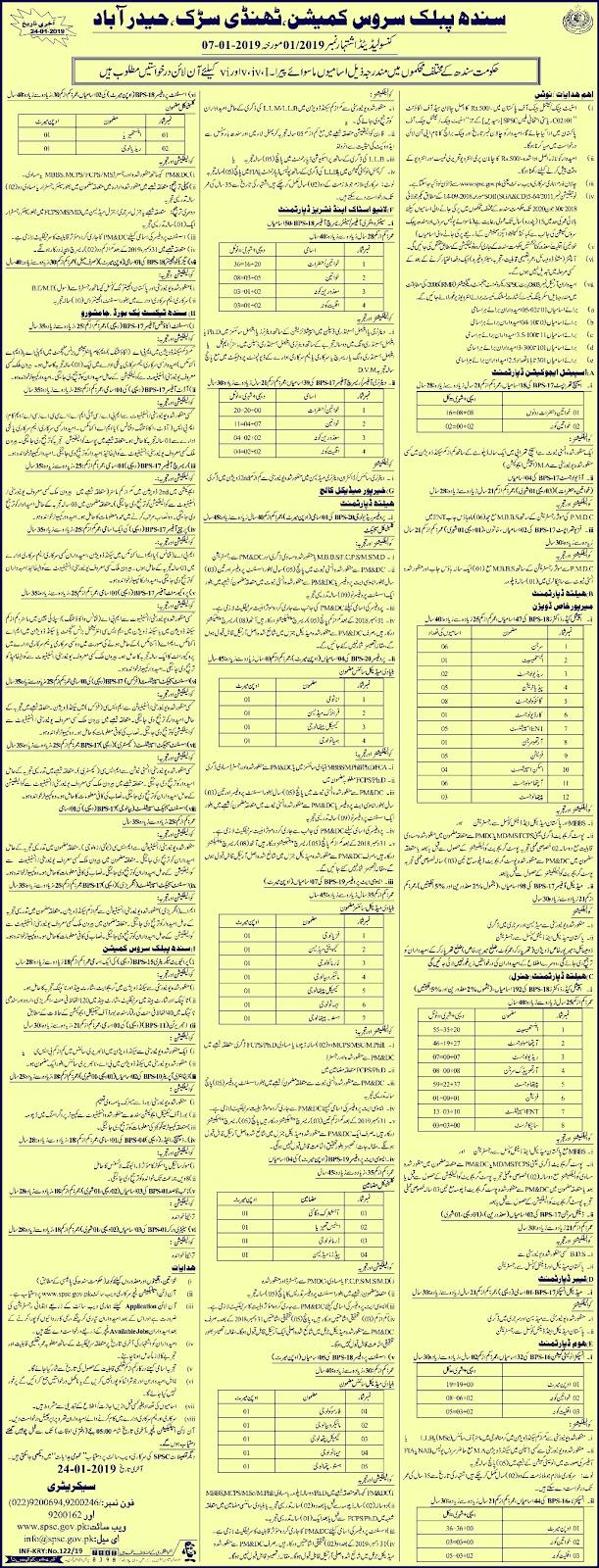 SPSC New Jobs 2019 | Sindh Public Service Commission Jobs 2019 | 463+ New Vacancies
