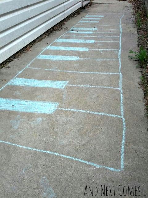 Giant chalk piano keyboard drawing