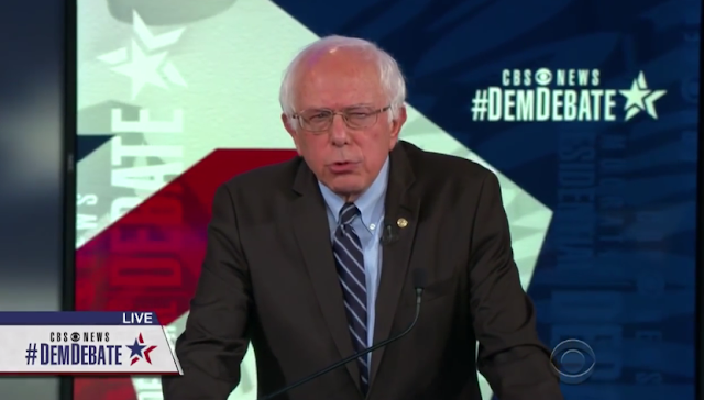 Bernie Sanders squinting angry face CBS Democratic debate