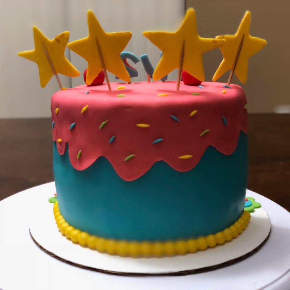 Dream Cakes Half Birthday Cake With Fondant Covered