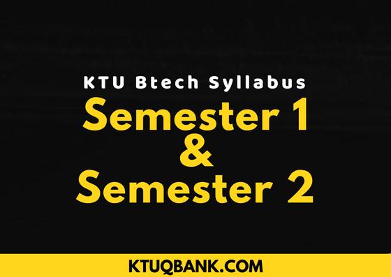 KTU Btech Syllabus | 1st Year | Semester 1 & Semester 2 (2015 Batch)