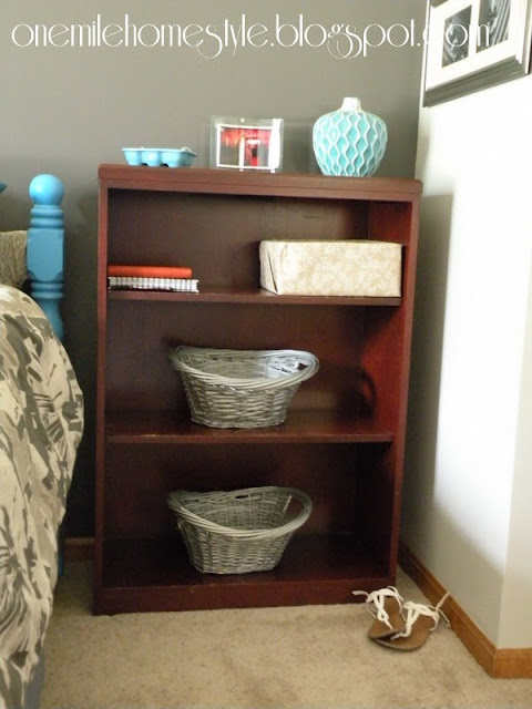 Charcoal wall and bookcase side table