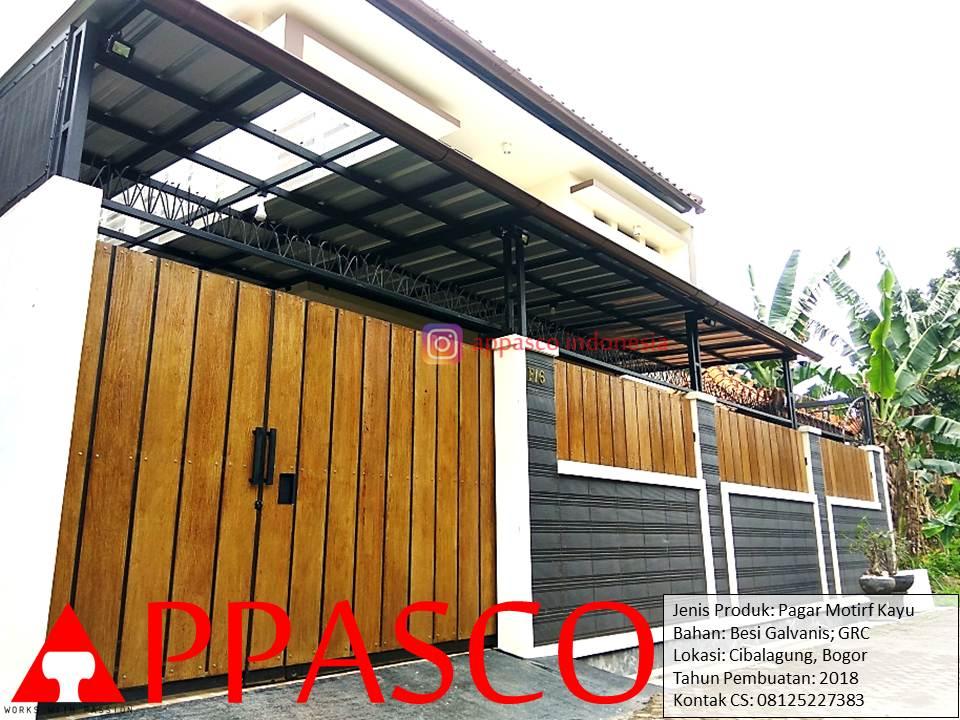 Pagara Minimalis Motif Kayu di Cibalagung Bogor