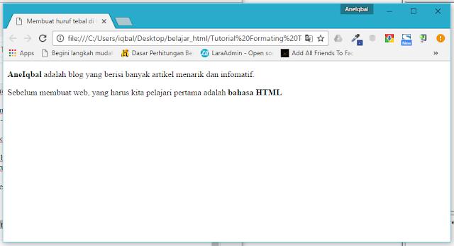 membuat huruf tebal di html