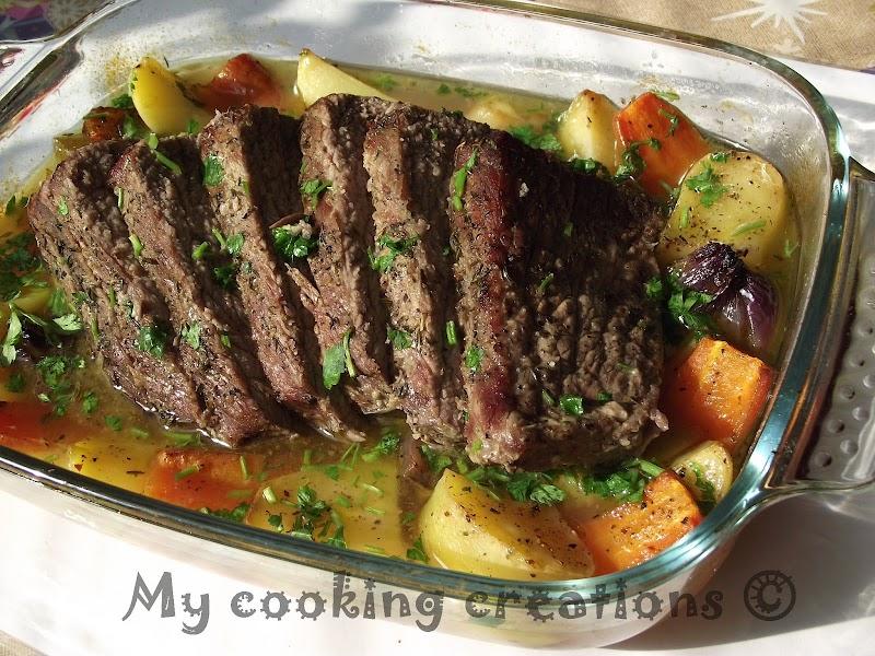 Телешко на фурна с зеленчуци * Vitello al forno con verdure miste
