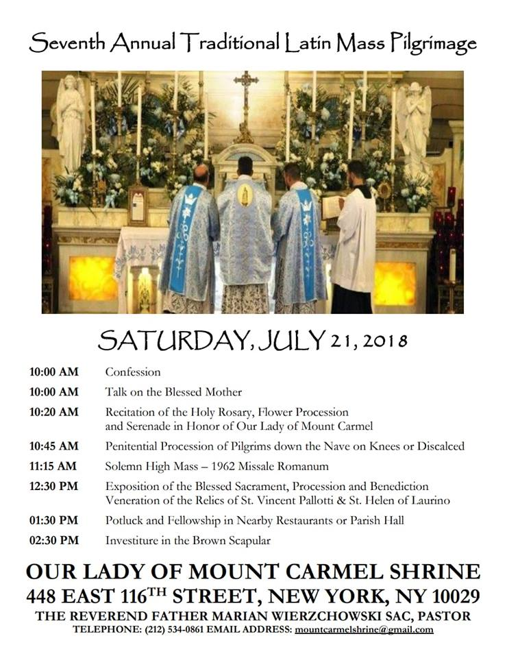 New Liturgical Movement: Upcoming Events at Our Lady of Mt Carmel in NYC