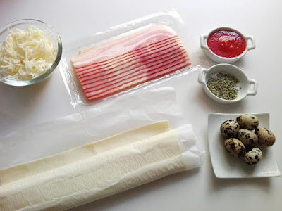 Ingredientes de Pizza de hojaldre con huevos de codorniz y bacon