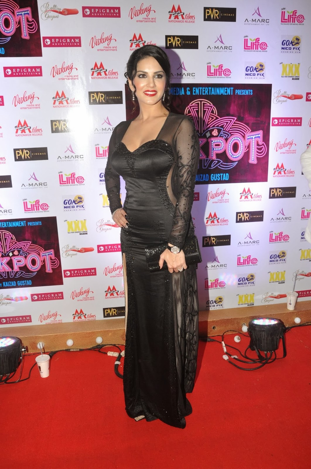 Hbtkollywood Super Sexy Spectacles Sunny Leone Ses longues pattes noires See-Through Robe à-7123