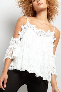 White Crochet Trim Lace Cold Shoulder Top - NEW LOOK