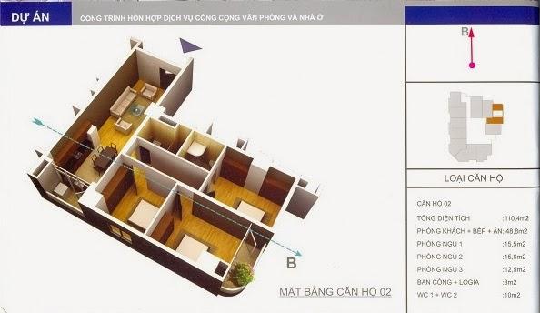 thiết kế mẫu căn số 2 chung cư 34 Cầu Diễn