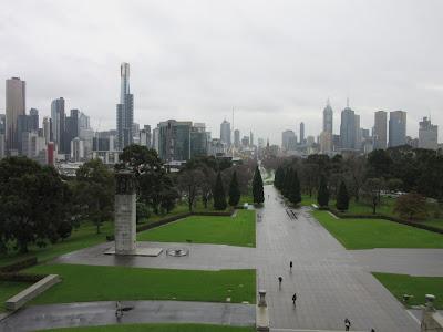 Vistas de Melbourne desde el Shrine of Remembrance