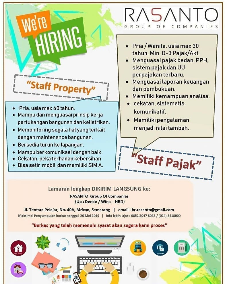 Lowongan Kerja Rasanto Group Of Companies Mei 2019 Staff Property Dan Staff Pajak Semarang Loker Swasta