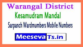 Kesamudram Mandal Sarpanch Wardmumbers Mobile Numbers List Warangal District in Telangna State
