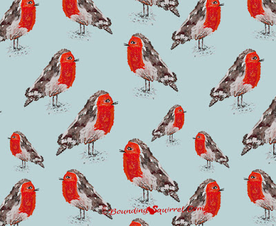 Christmas Robin Repeating Pattern/Digital Painting