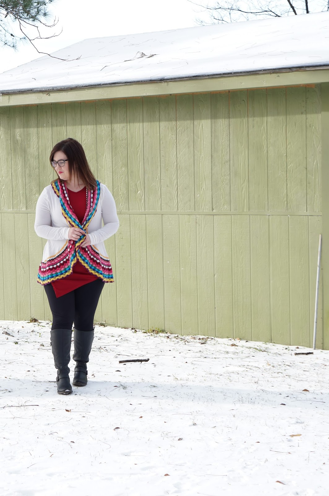 Rebecca Lately Fashionmia Top Colorful Cardigan J. Crew Pixie Pants Bare Traps Sebastian Boots