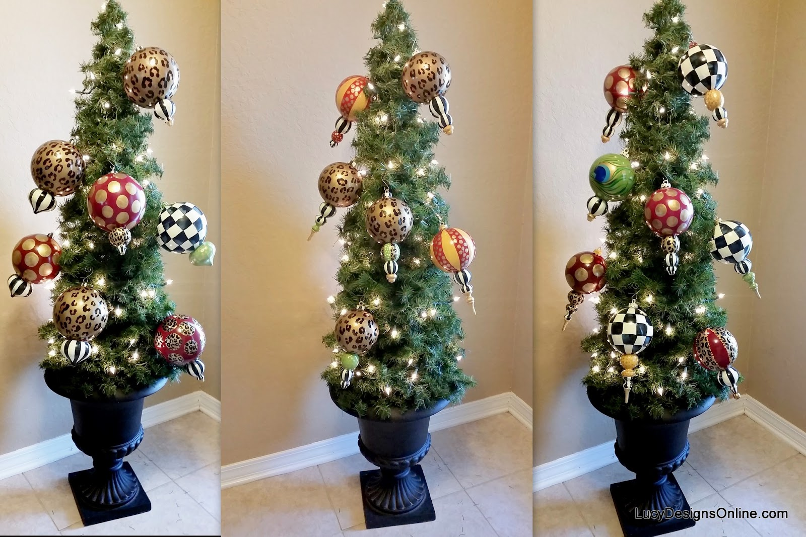 hand painted black and white check ornaments
