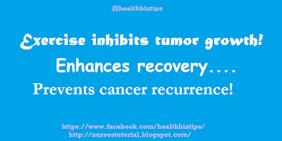 Exercise inhibits tumor growth! Enhances recovery....Prevents cancer recurrence!