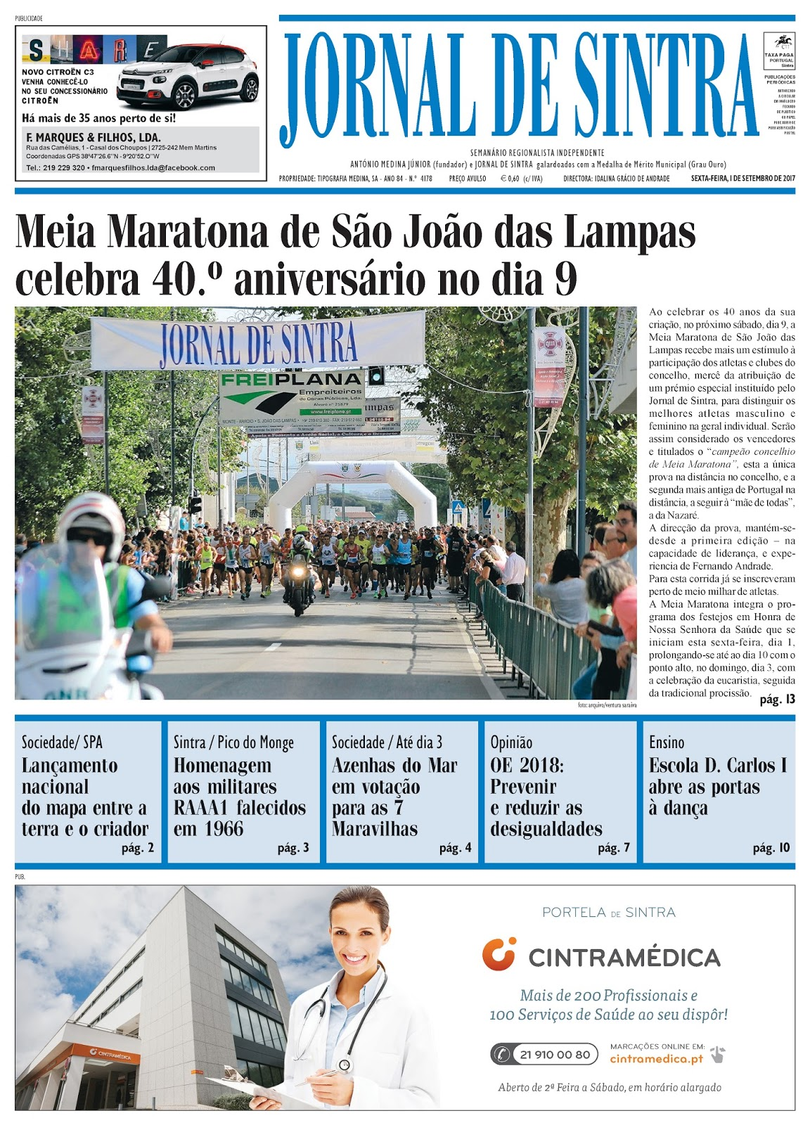 Capa da edição de 01-09-2017