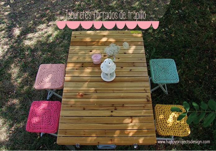 DIY Forro de trapillo para los taburetes del camping