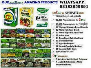 C24/7 is the FLAGSHIP PRODUCT of Allance In Motion Global, also known as AIM GLOBAL. It is Manufactured by Nature's Way @ USA. C24/7 and COMPLETE. Phyto-energizer are similar products, the only different between this two products is that C24/7 contains more phyto - nutrients than COMPLETE. Phyto-energizer. This why C24/7 is more stronger to prevent or cure any illness,diseases or infirmity you or someone around you may be passing through now.