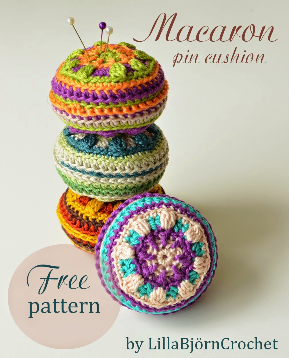 Macaron Pin Cushion by by www.lillabjorncrochet.com
