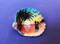 Manualidades : conchas pintadas a mano ATARDECER
