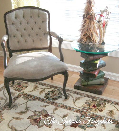 French Provincial Chair Fabric Painted With Chalk Paint