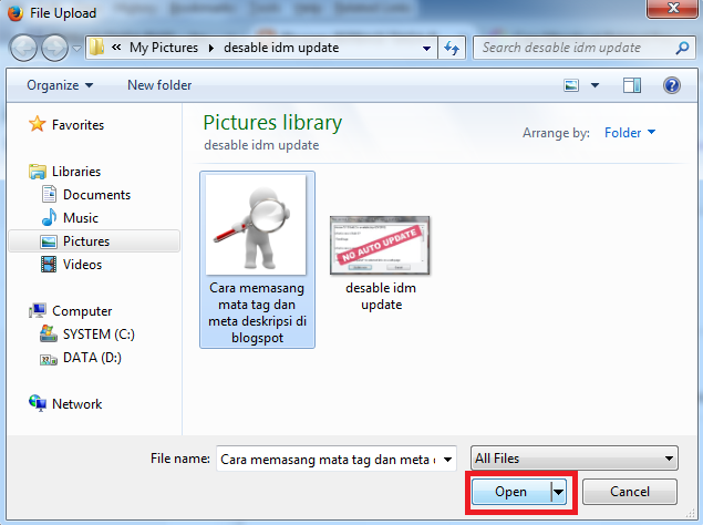 Cara Upload/Memasukan Gambar Di Postingan Blogger