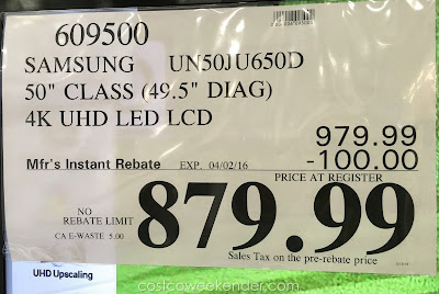 Deal for the Samsung UN50JU650D 50 inch UHD LED LCD TV at Costco