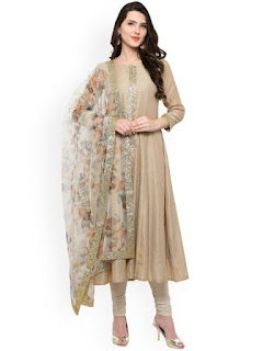 Ahalyaa Beige & Off-White Anarkali Kurta with Dupatta