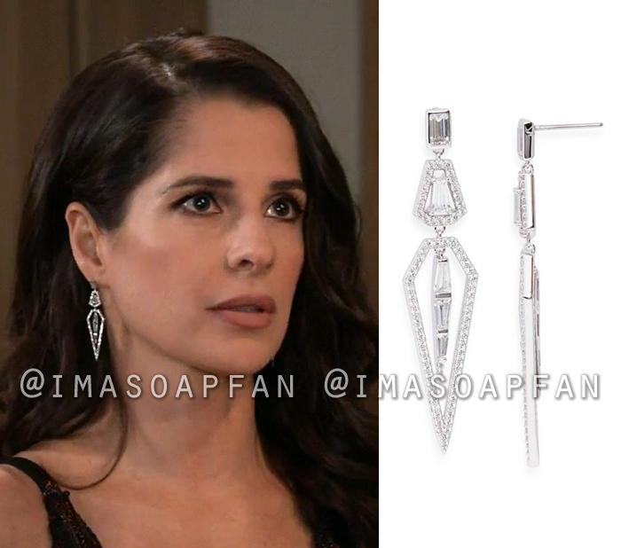 Sam McCall, Kelly Monaco, Crystal Geometric Drop Earrings, General Hospital, GH