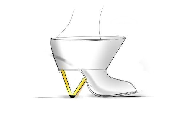 Sketch of an exaggerated mule with architectural heel by ABCENSE
