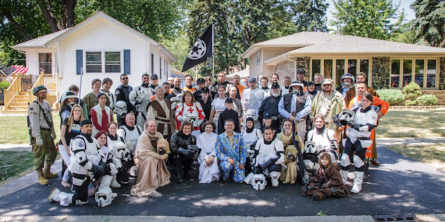 Group photo of both the 501st Legion and Rebel Legion (buckets off)