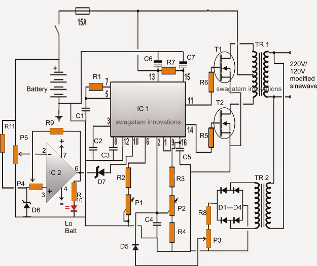 SG3525 inverter circuit with low battery cut off